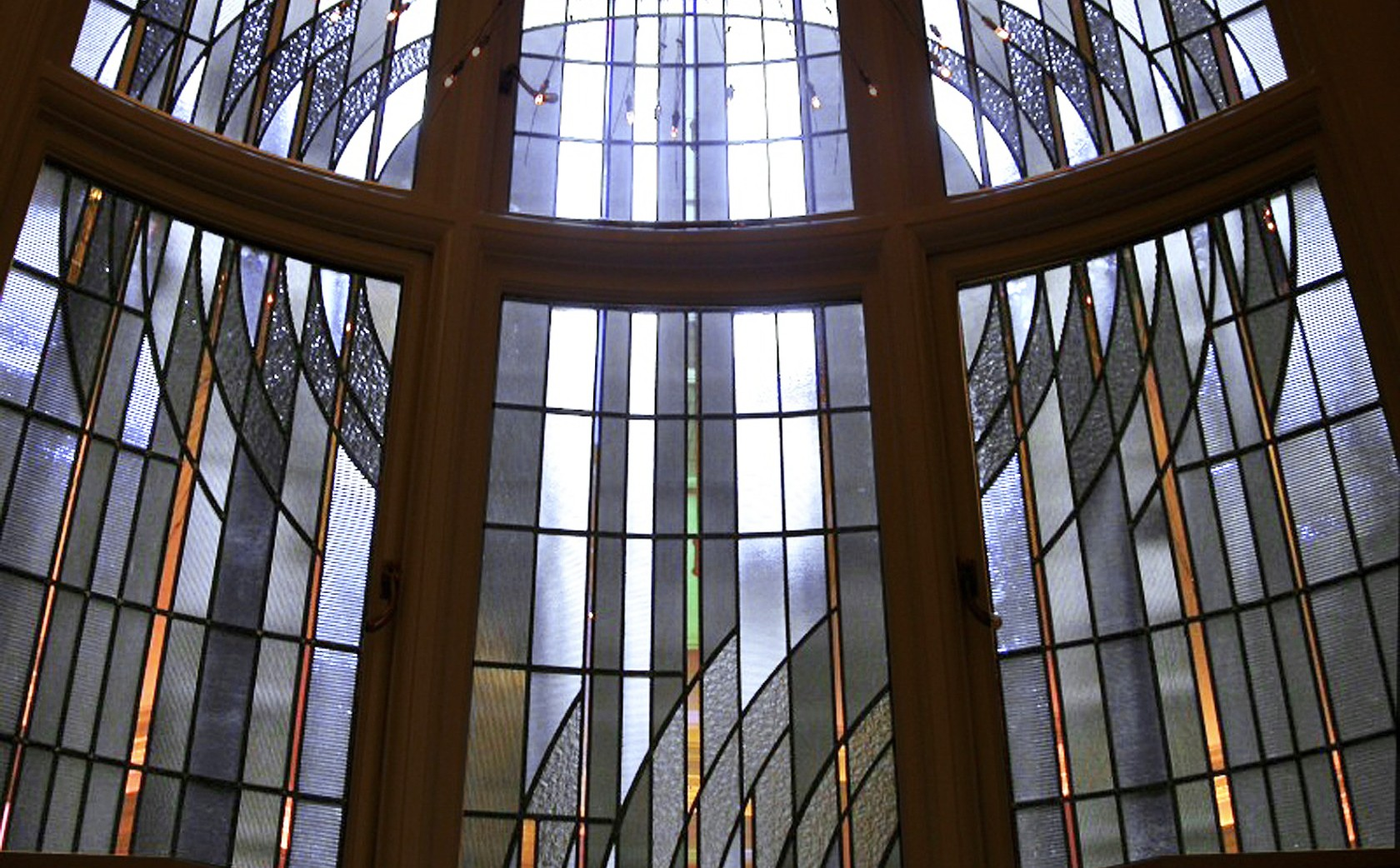 Art Deco Stained Glass Window to enhance light and screen view on light-well