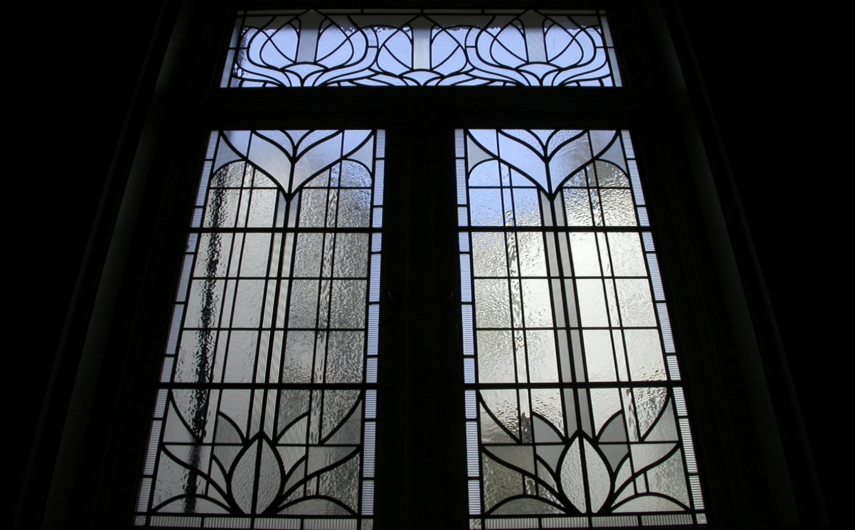 Art Nouveau Stained Glass windows on light well  for light maximisation & view screening