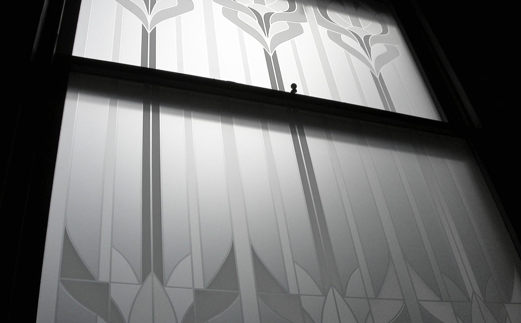 Acid embossed Art Nouveau window