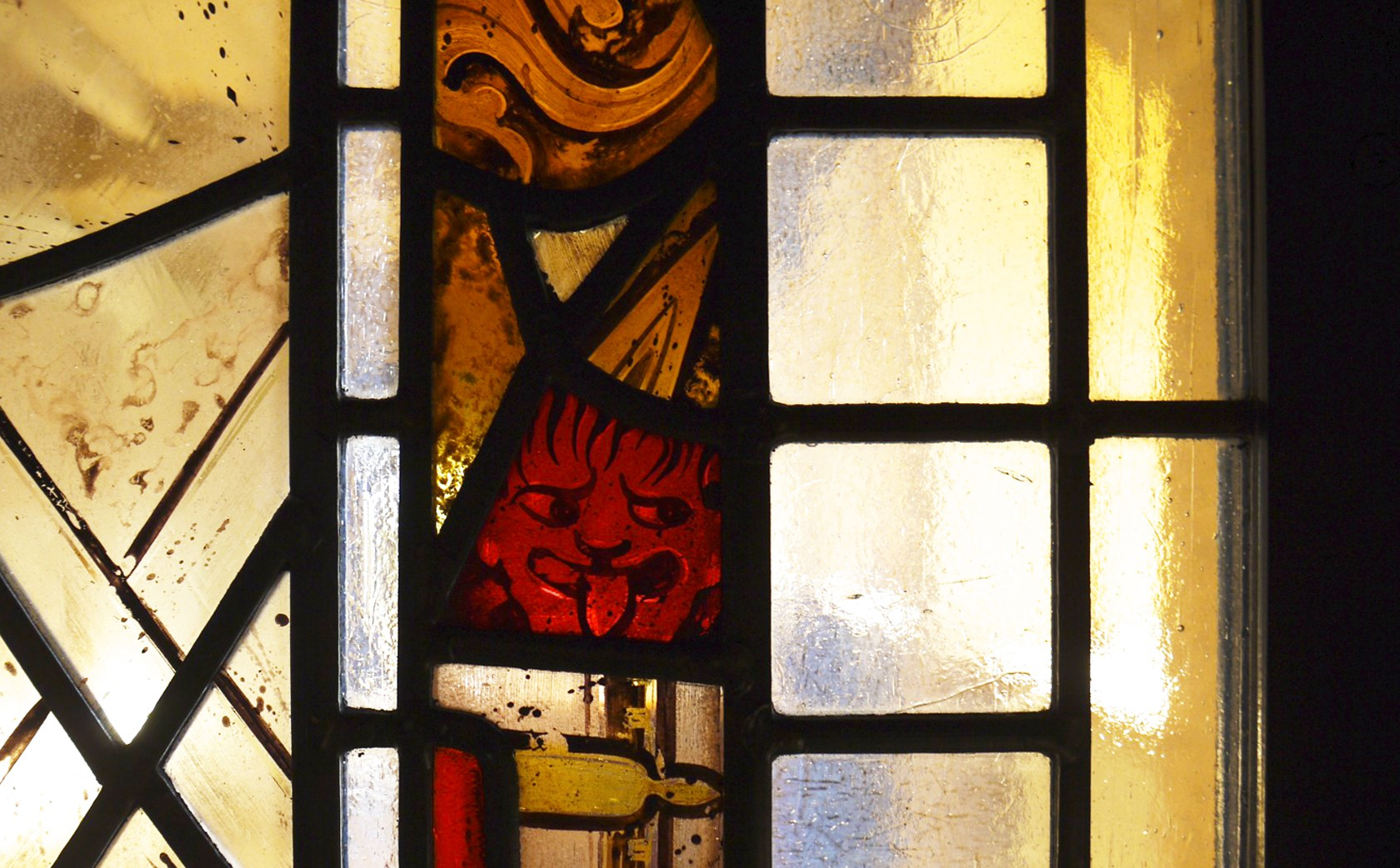 Detail, hand painted stained glass windows