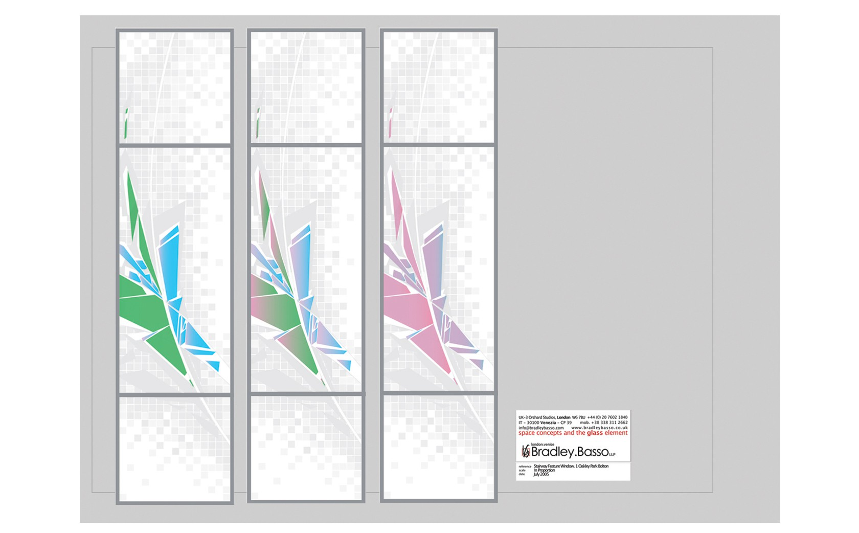 Design stage. Proposal. Changing light qualities of dichroic glass