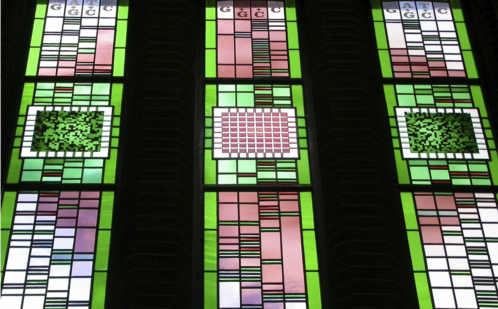 DNA content in these stained glass windows for the Hartley Library in Southampton University.