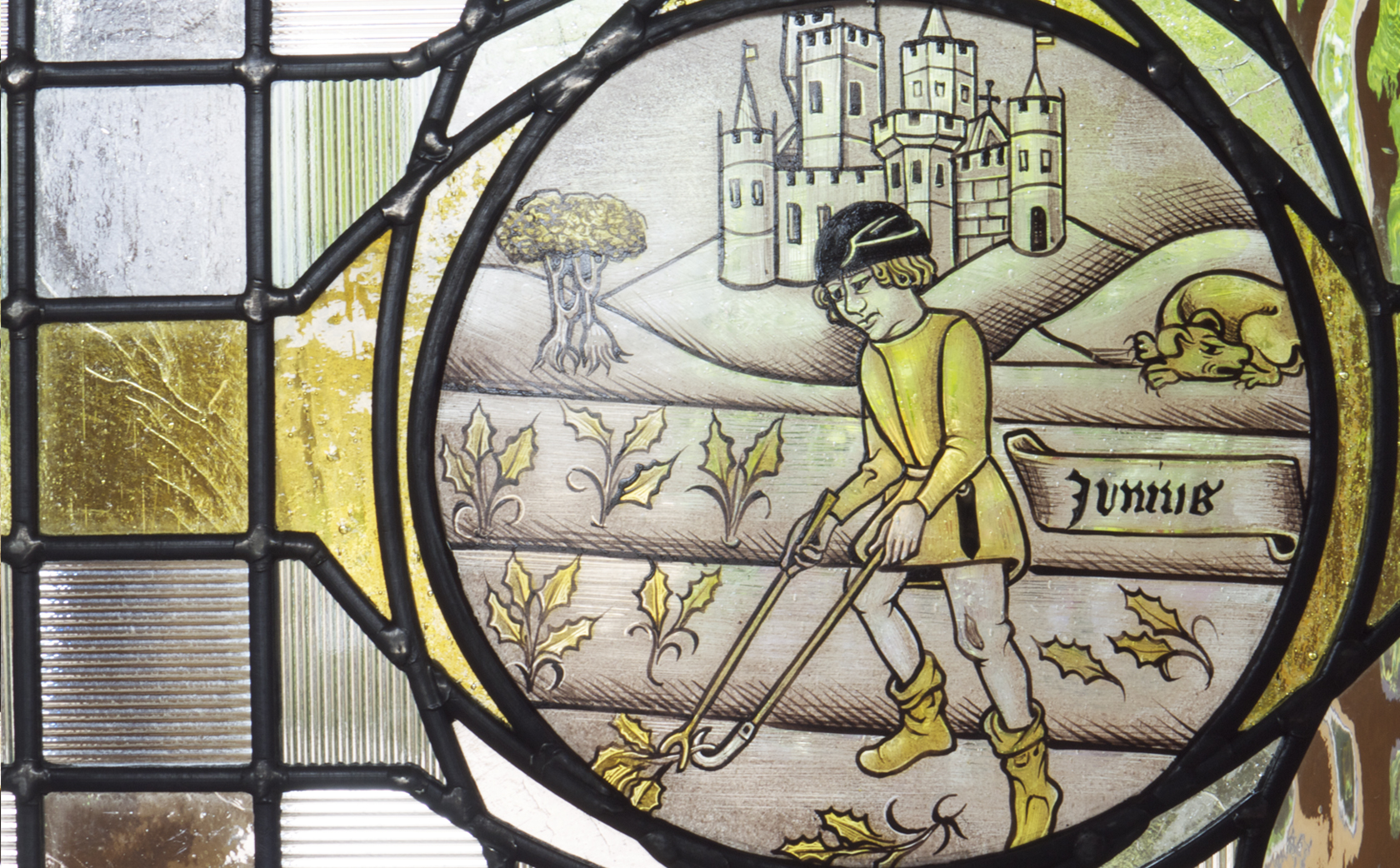June Labour of the Month - hand painted stained glass 15th Century roundel interpretation