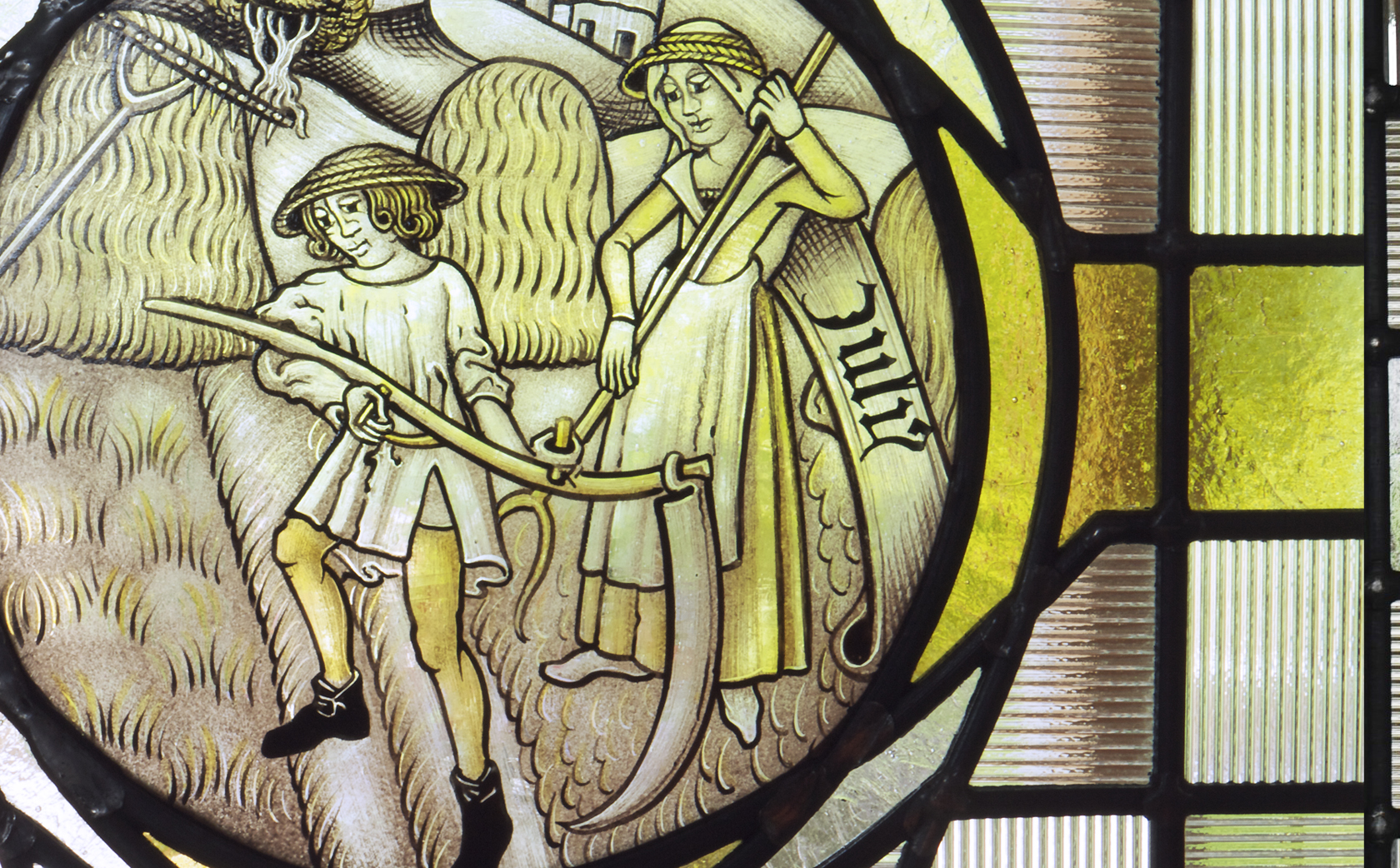 July Labour of the Month - hand painted stained glass 15th Century roundel interpretation