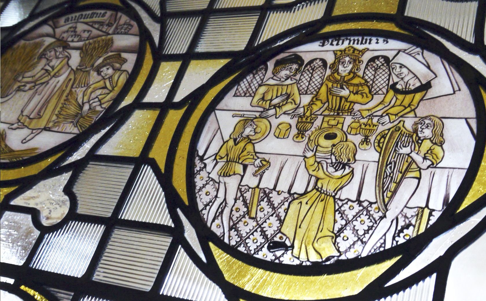 December Labour of the Month, hand painted stained glass interpretation 15th Century Roundels