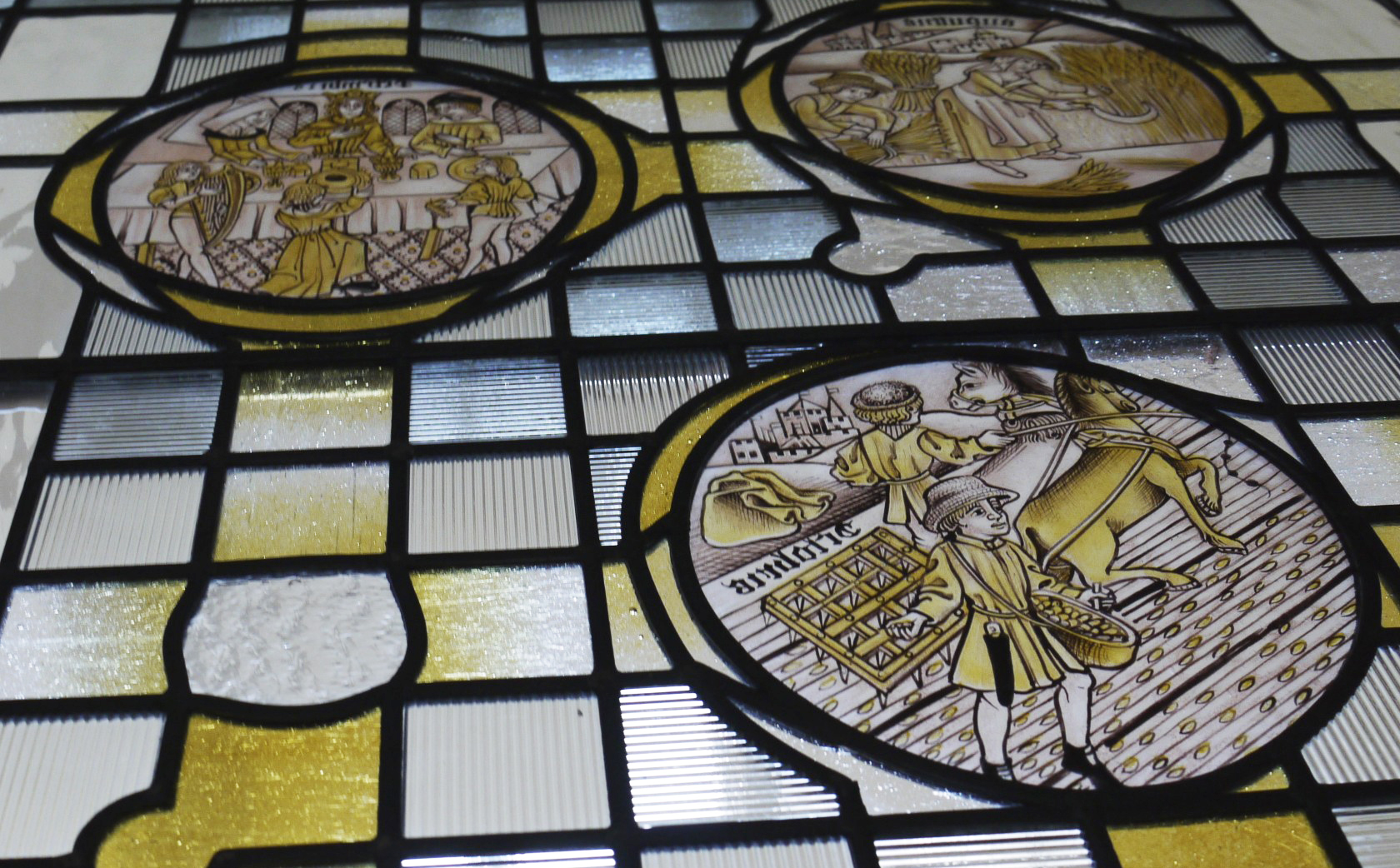 Medieval Stained Glass Labours of the Months, interpretation 15th Century Roundels.