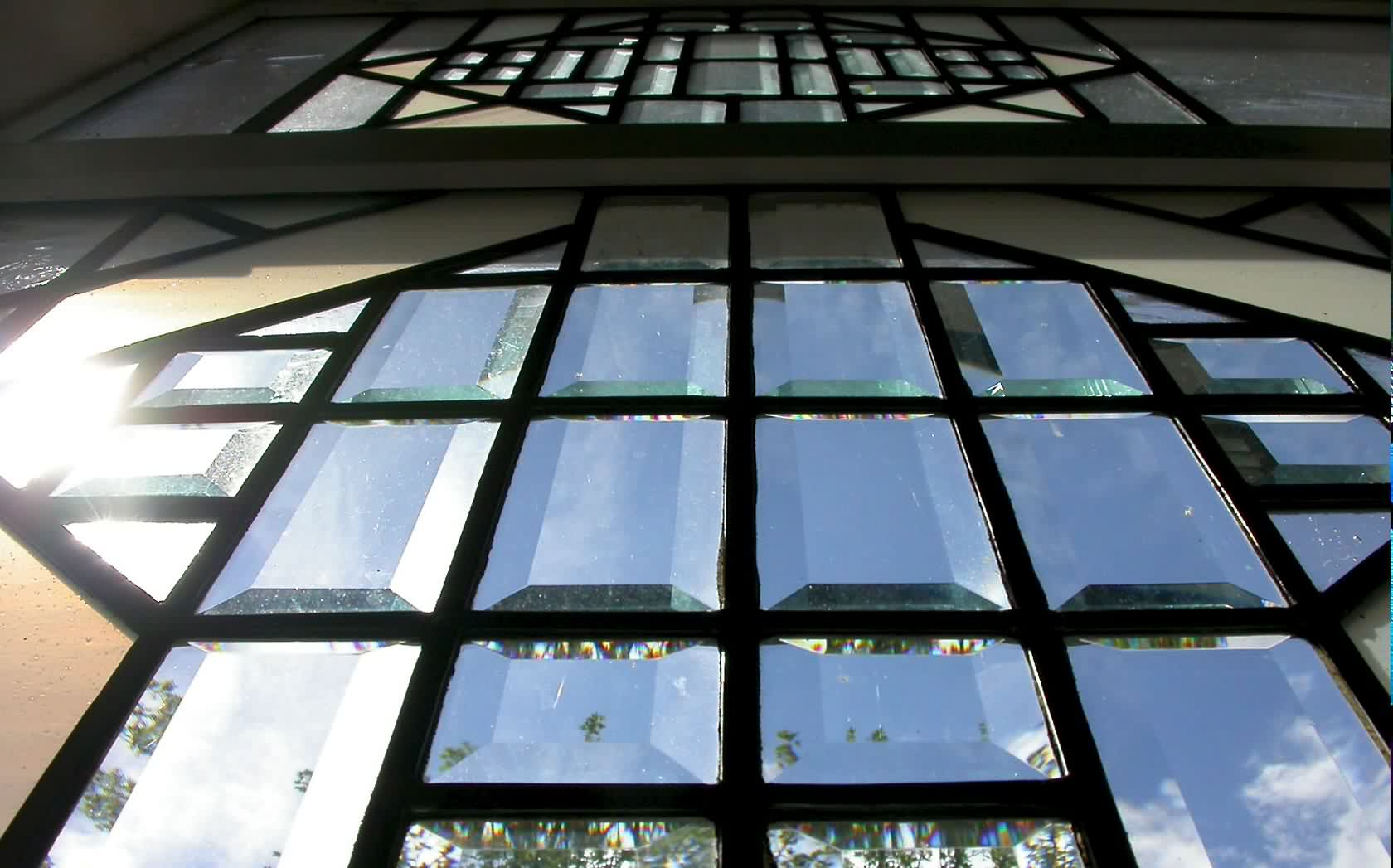 Stained glass windows, monochrome hues using bevels and Opal glass