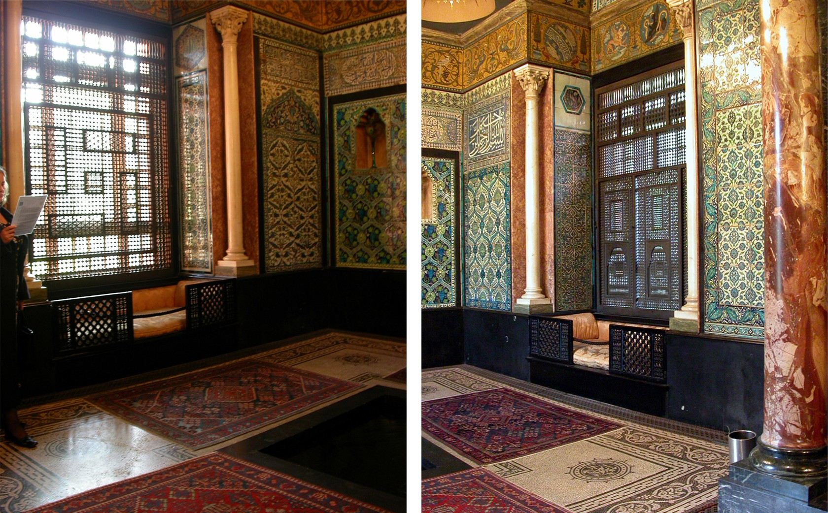 the Damascene Musharabiyeh Islamic Screens in the Arab Hall designed by Leighton's architect George Aitchison.