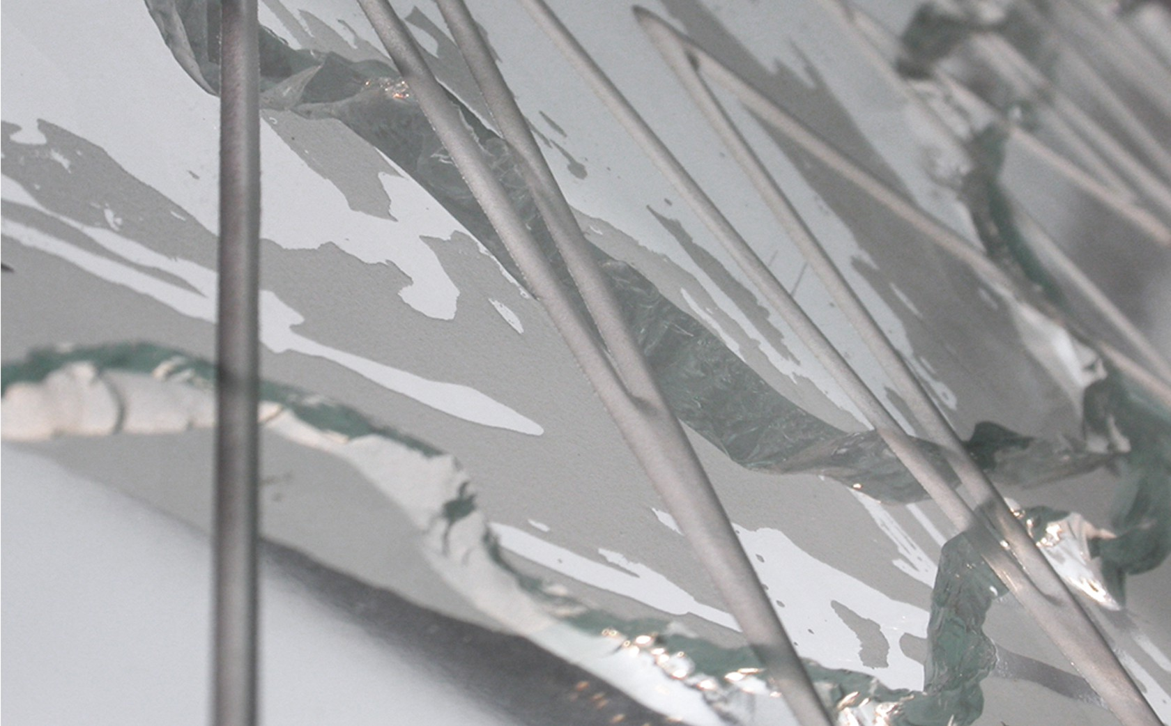 Fractured glass art wall 'Stitch' - Section.