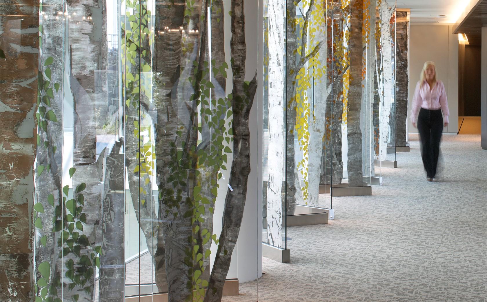 Architectural Glass Sculpture Birch Tree Walk - Autumn Season