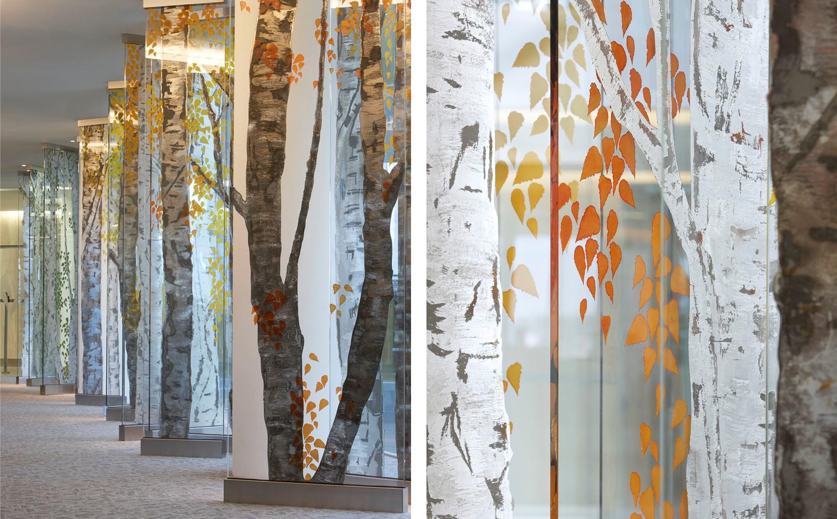 Architectural Glass Sculpture Birch Tree Walk - Autumn to Winter Seasons