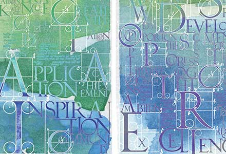 Glass Art for Education 'Calligraphic Tapestry'