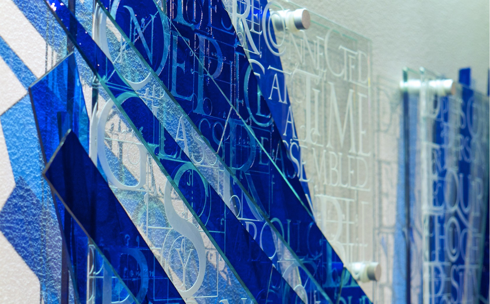 Glass Wall Sculpture Fragments of Blue Vessel Gallery Notting Hill