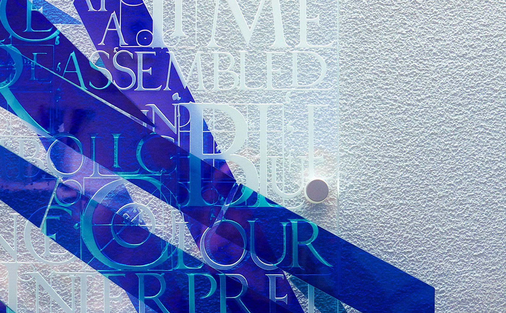 Glass Wall Sculpture Fragments of Blue by Denise Mt Basso for Vessel Gallery Notting Hill