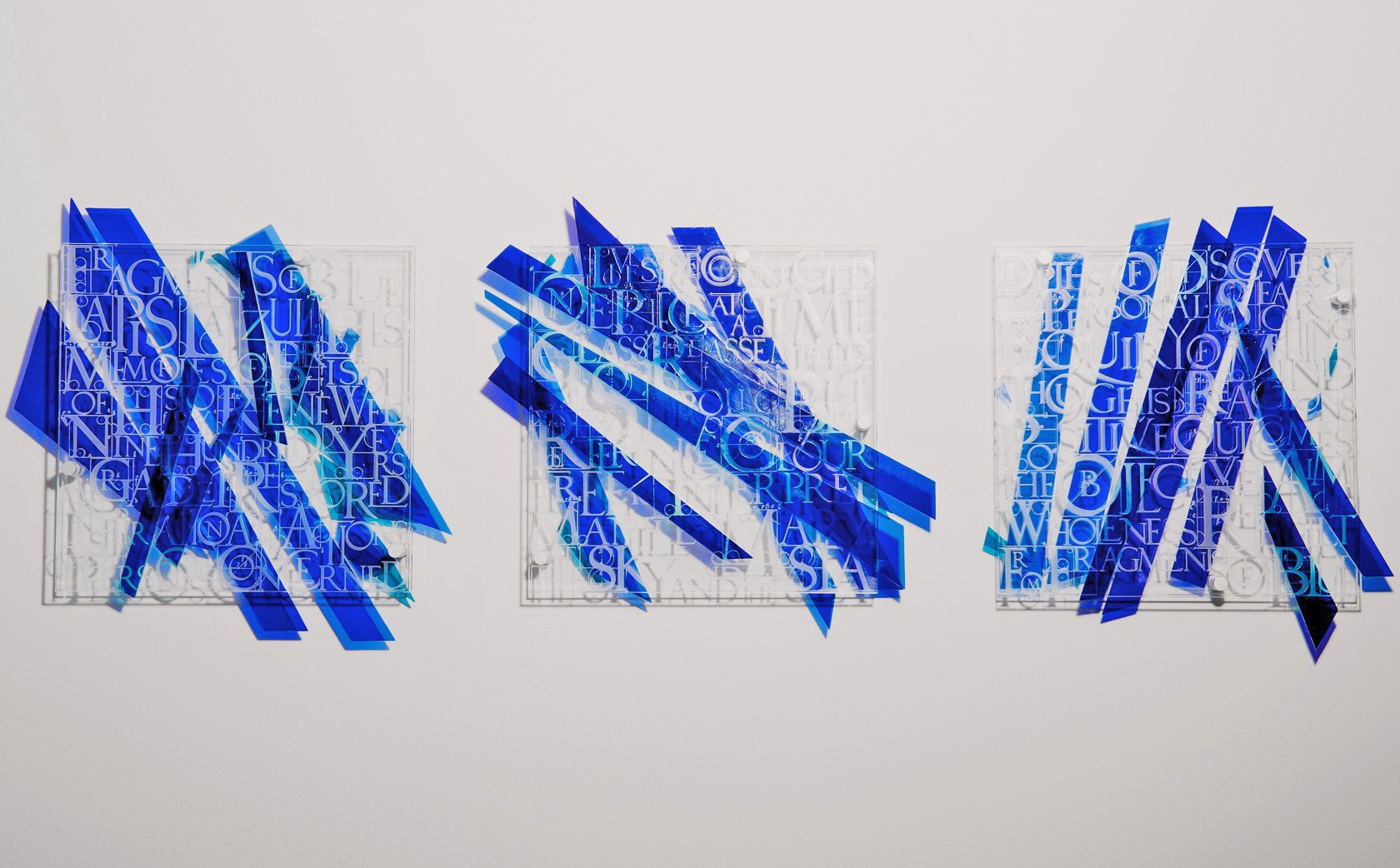 Wall Glass Sculpture Fragments of Blue by Denise Mt Basso for Vessel Gallery Notting Hill
