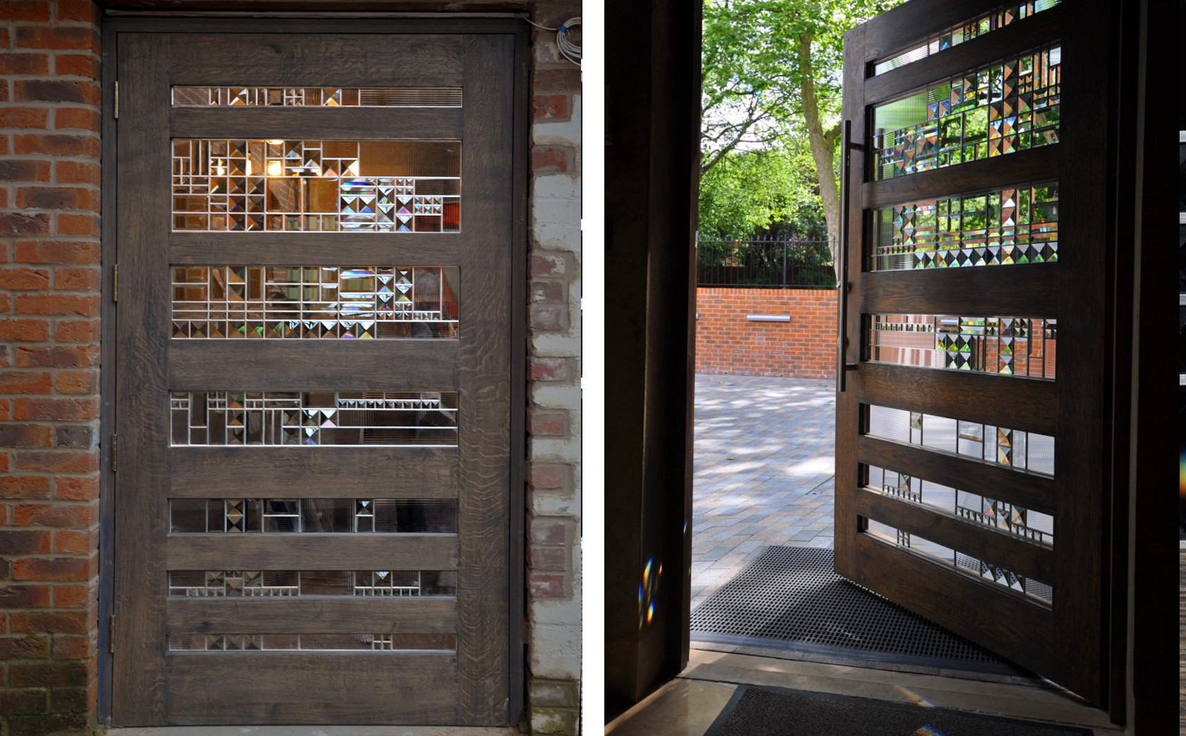 Front Entrance security door with embedded decorative structural glass system with bevels.