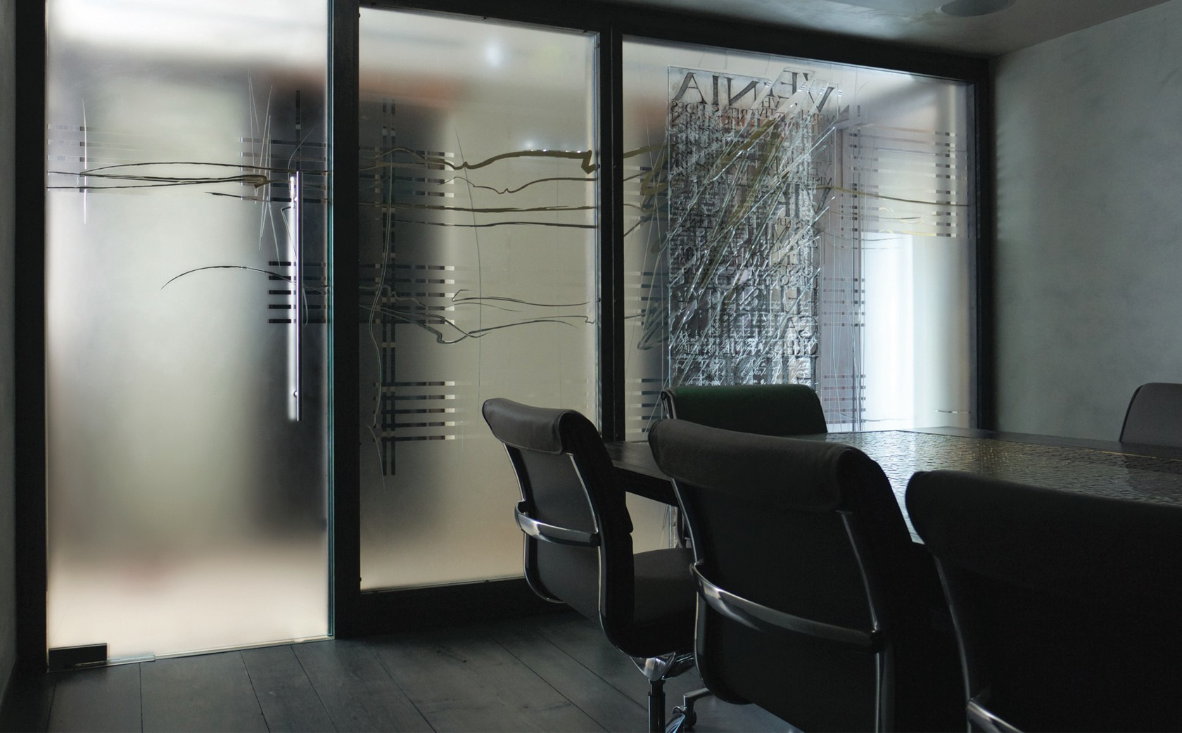 Architectural Glass Art Installation glass screens 'Counterpoint' - view from inside boardroom.