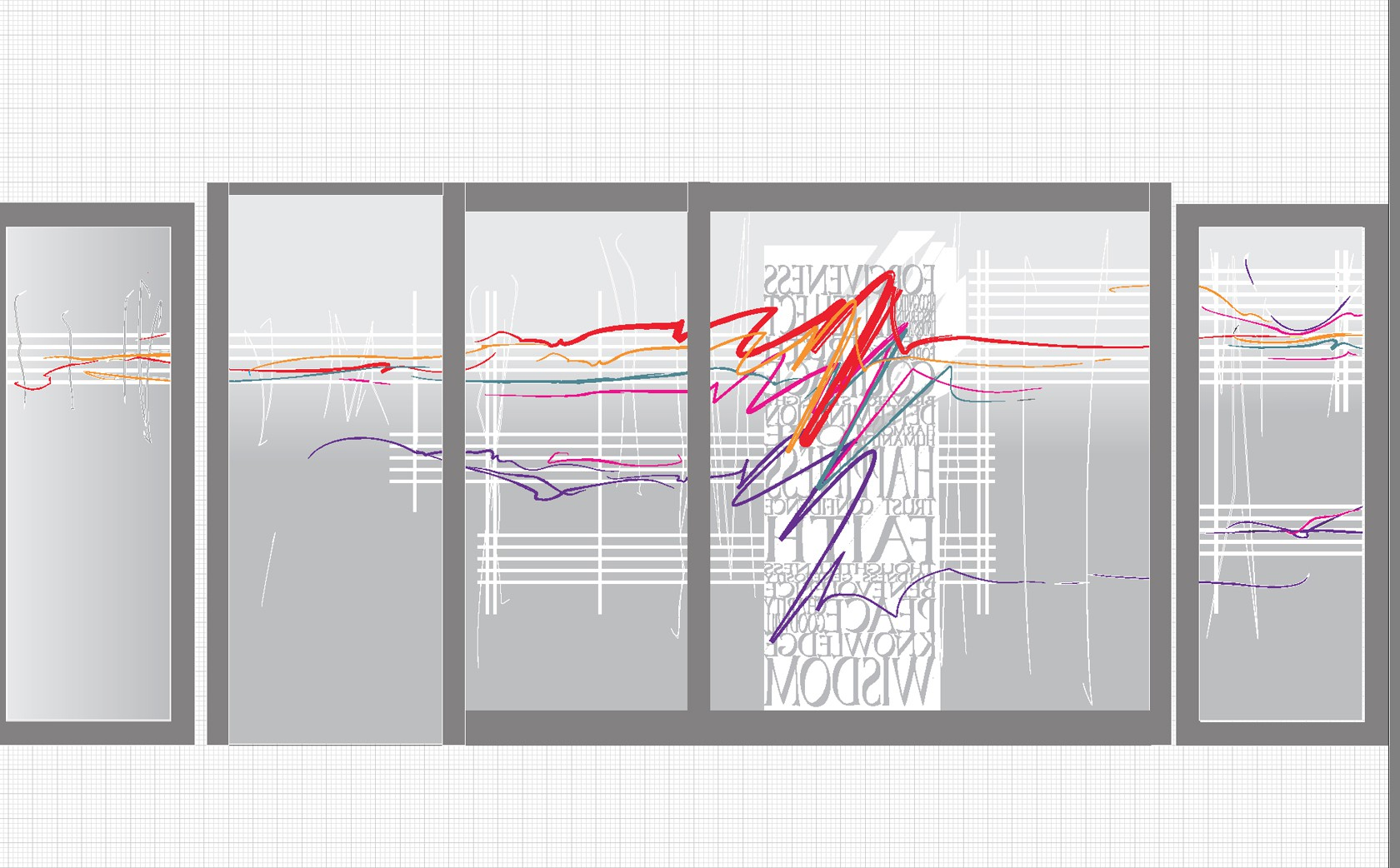 Design stage. 'counterpoint' developing within architecture & music on glass doors and screens. 7 gold hues used.