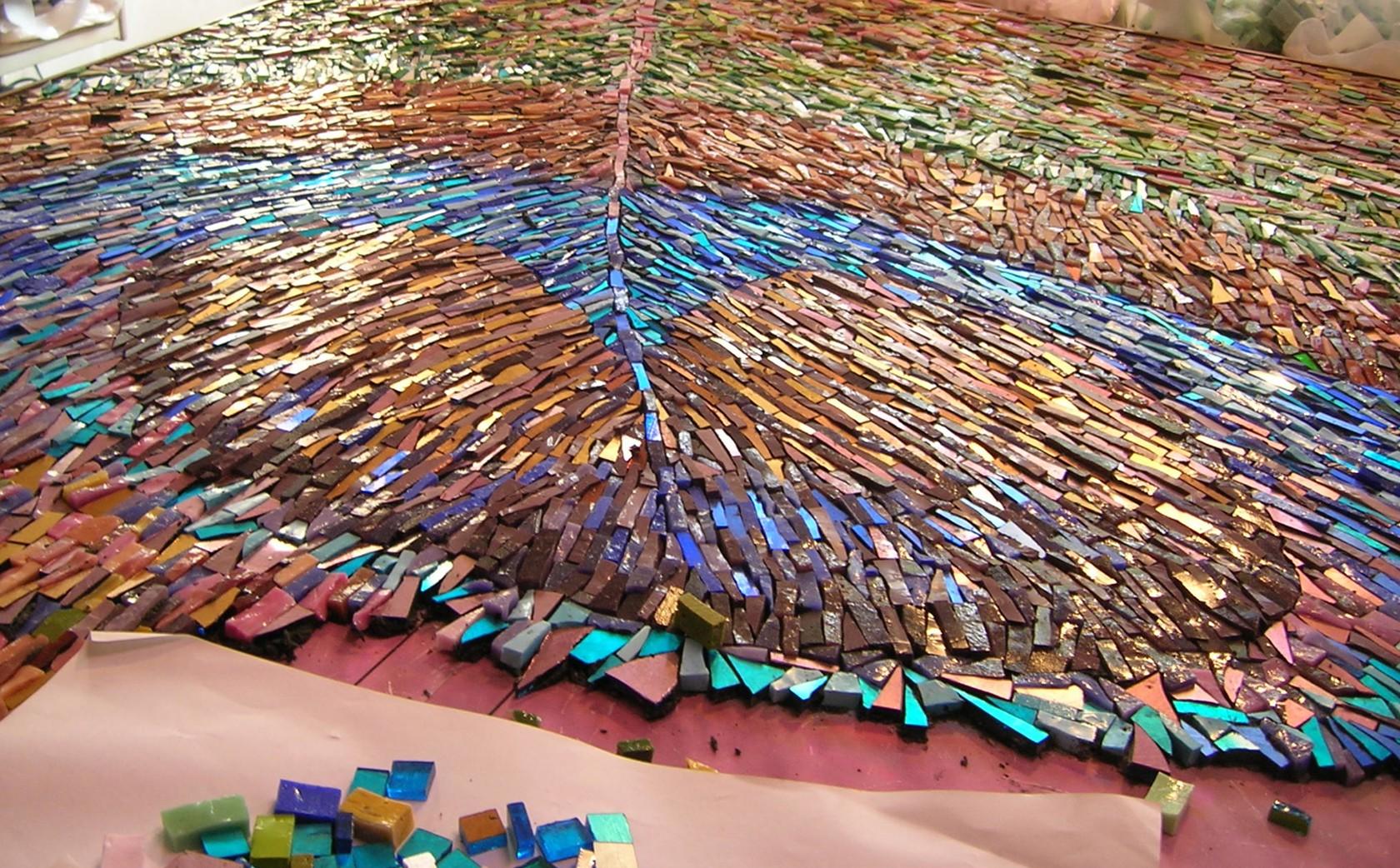 Peacock Mosaic - work in progress