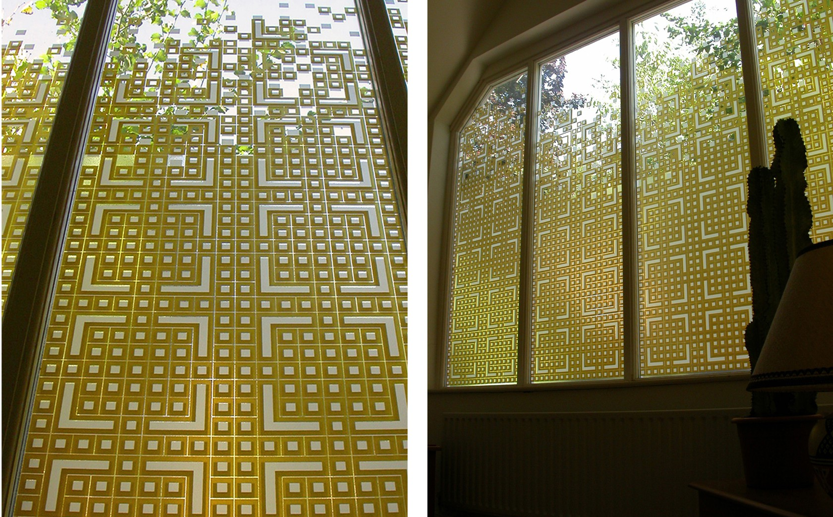 'Chinese Fretwork' inspired these designer glass screens for a West London Studio where privacy issues and natural light control were key functional factors