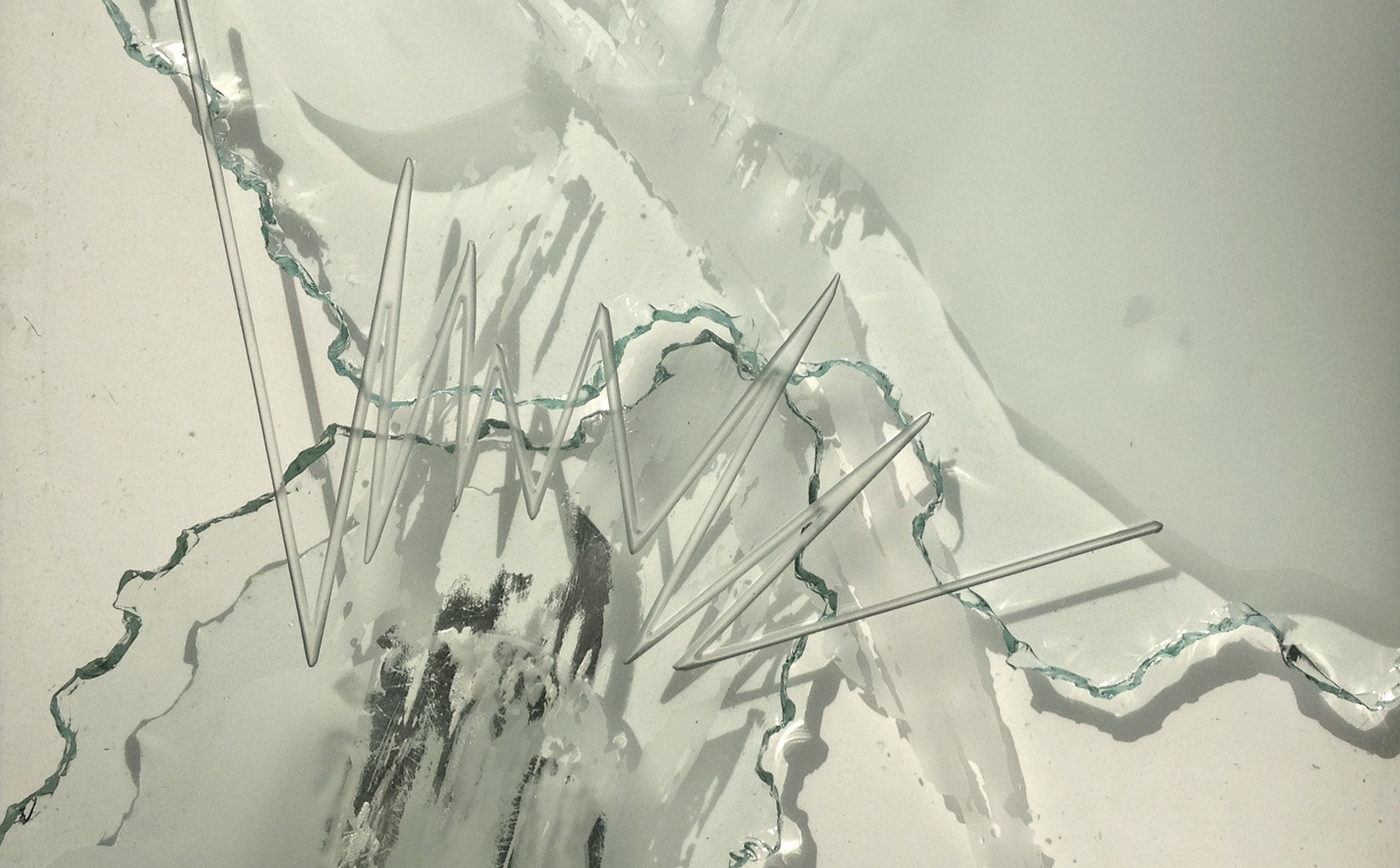 'Stitch' fractured glass art wall - section.