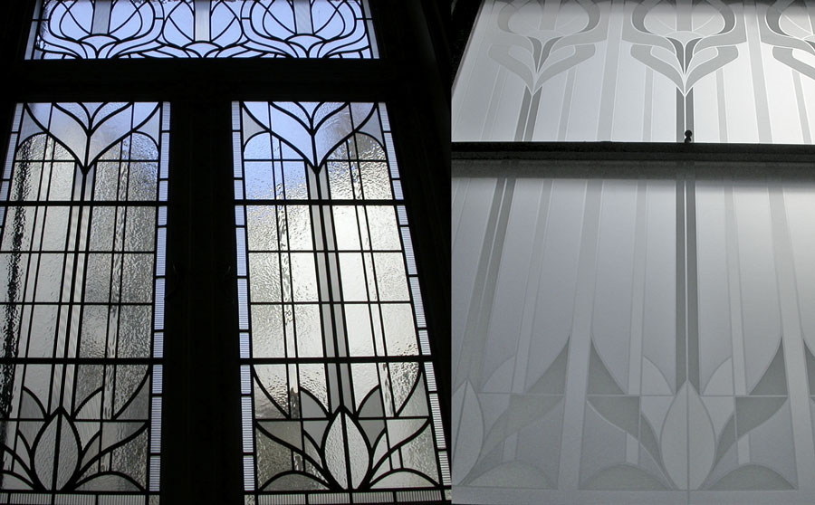 Site specific monochrome art deco stained glass and acid etched screens for bathroom area.