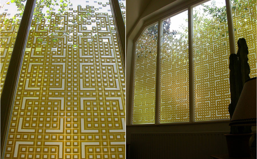 Site specific glass screening defined by privacy issues and natural light control - inside